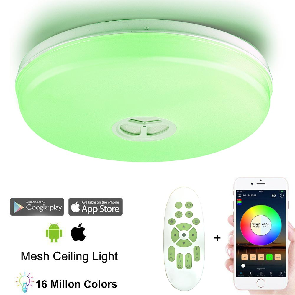 LED Music Ceiling Light Bluetooth Mesh APP Remote Contorl 24W Smart Lamp  for Living Room Dining Room, View Mesh light Mesh lights light mesh net  mesh