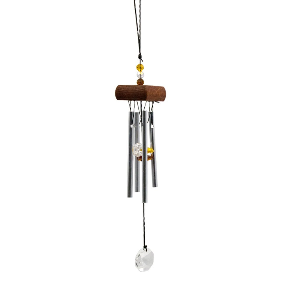 Fenteer Wooden Stock 4 Bells Wind Chimes Windchimes with Crystal Pendant Beautify Relaxing Home Hanging Decor Crafts - Amber, 45x9.5cm