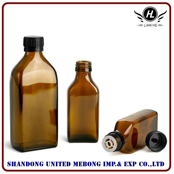Wholesale 100ml and 250ml square pharmaceutical amber glass bottle
