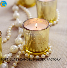 small Rose Gold Votive Mercury Glass Gold Tea Light Holder Candle Votive Wedding Decoration