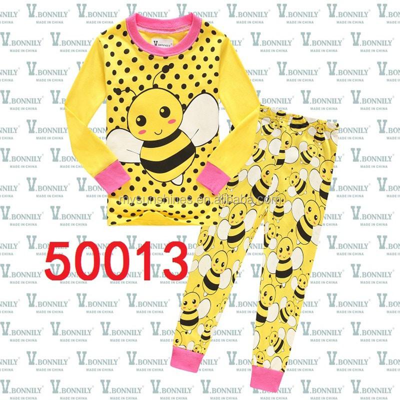 e84020fe9bac Cartoon Children Clothing Top+pants 2pcs Pyjamas Animal Bees Kids ...