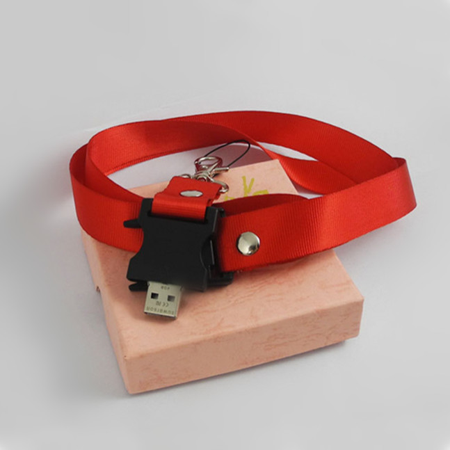 Make a custom hang rope with a usb stick with a usb stick Thick polyester with id wallet cheap plastic USB lanyard clip