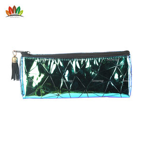 Tassel bag charm Green iridescence Faux Leather Triangle Pouch with black lines Makeup Pouch
