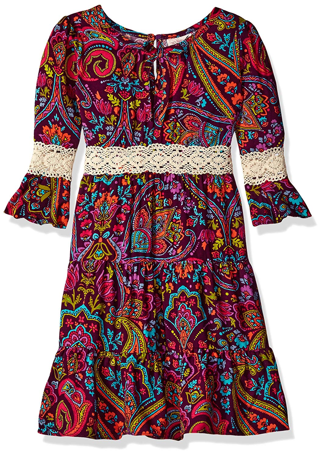 4794ebaf5ffdf Get Quotations · Youngland Girls' Paisley Tiered Boho Dress with Lace Trim