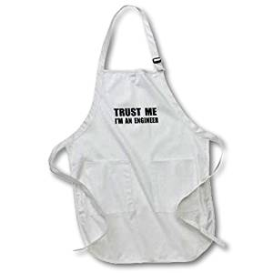 3dRose apr_195603_1 Trust Me Im An Engineer Fun Engineering Humor Funny Job Work Gift Full Length Apron with Pockets, 22 by 30-Inch, White