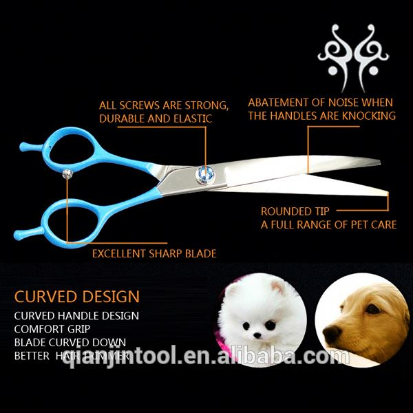 2017 New Arrival 440C Curved Scissors Dog Grooming Scissors Rubber Handle Pet Scissors