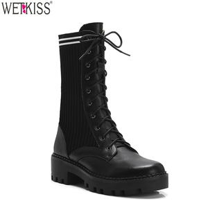 Trendy Lady Footwear Platform Flat Combat Boots Women Shoes Round Stretch Knitted Sock Boots Lace Up Genuine Leather Ankle Boots