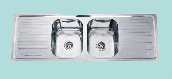 lay on style double bowl with double drain board stainless steel