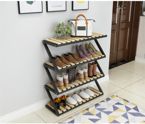 Folding Z Shaped Wood 2-3-4tiers Shoe Storage Rack
