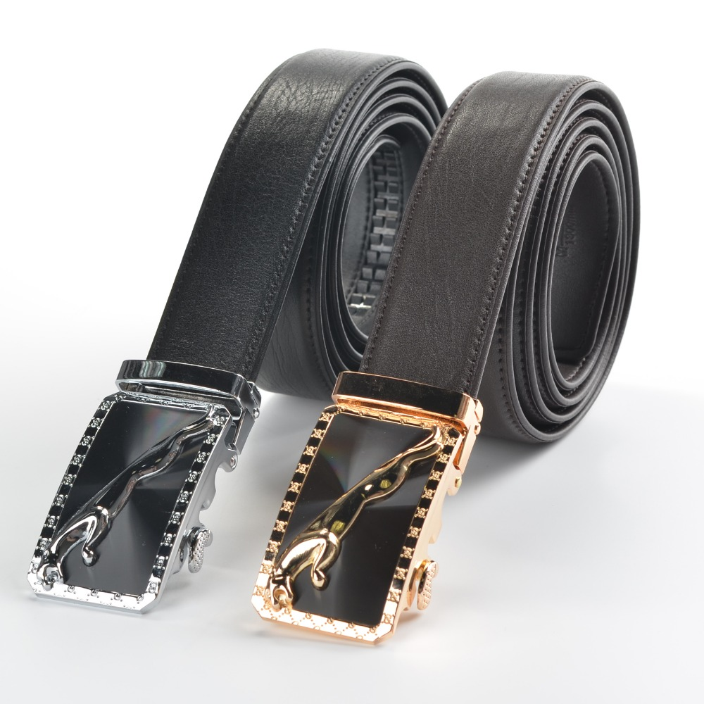 Custom Branded Italian Cowhide Adjustable Genuine Leather Belt with Automatic Buckle