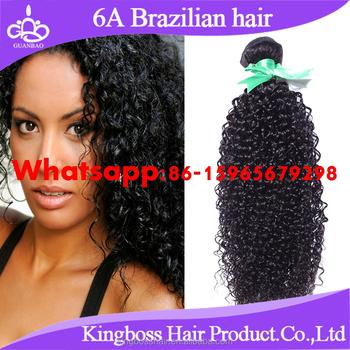 human hair kinky curl cheap curly brazilian hair weft Natural color ...