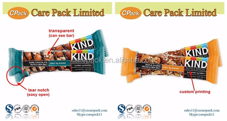 Food grade custom printing health snack bar packaging with tear notch