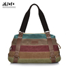 Multicolor fashion stripe design high capacity canvas handbag sling shoulder messenger bags