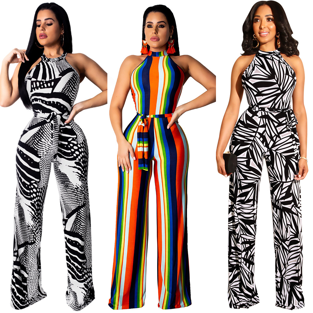 Wholesale women fashion patched strapless jumpsuit LA3100