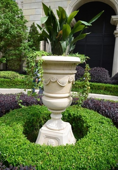 Popular Outdoor Garden Decorative Natural Classical Stone Flowerpot,Natural  Stone Outdoor Flower Vases