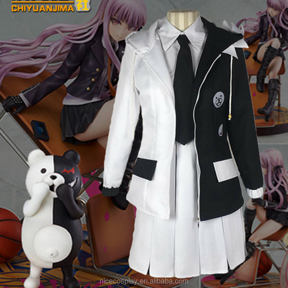 Hot Japan Game Bullet On The Broken Cosplay Black And White Fancy Sets Costumes Stock