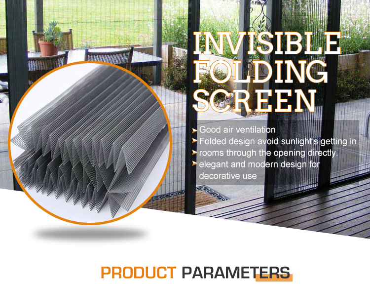 Fiberglass and plastic pleated mesh material folding screen insect screen accordion screen mesh