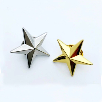 Manufacture Custom 3D Gold Silver Plated Star Enamel Lapel Pins