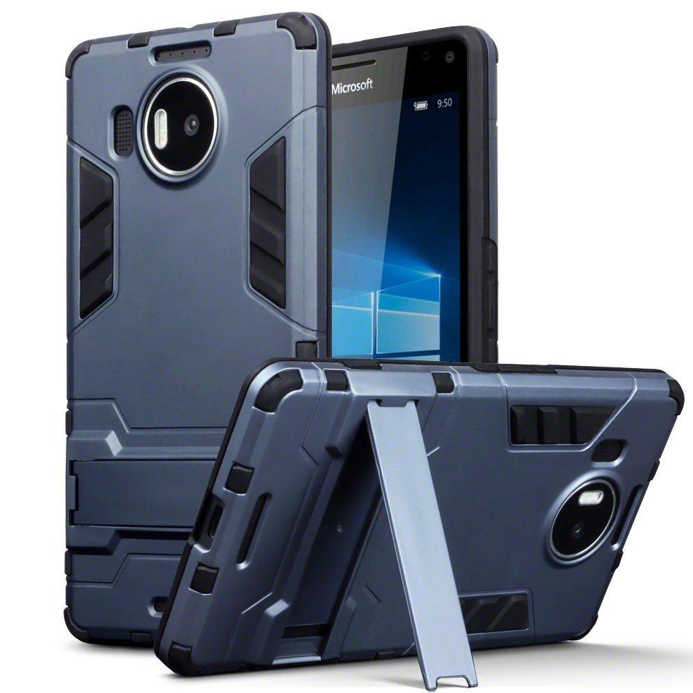 Lumia 950 XL Case - Terrapin Microsoft Lumia 950 XL Cover - Full Body Shock Resistant Armor Case - High-Tech Look - Dual Layer - Kickstand - Dark Blue
