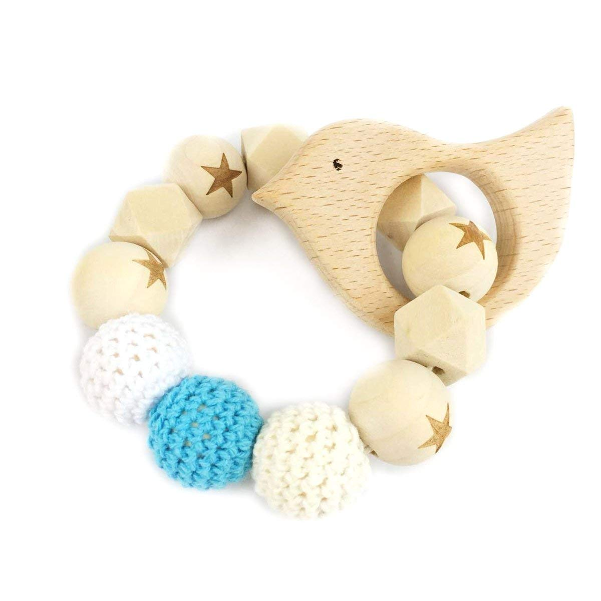 Bird Wooden Teether Chew Beads Baby Rattle Teether Nattural Raw Crochet Beads Toy Mom Bracelet Ecofriendly Baby Teething (Bird)