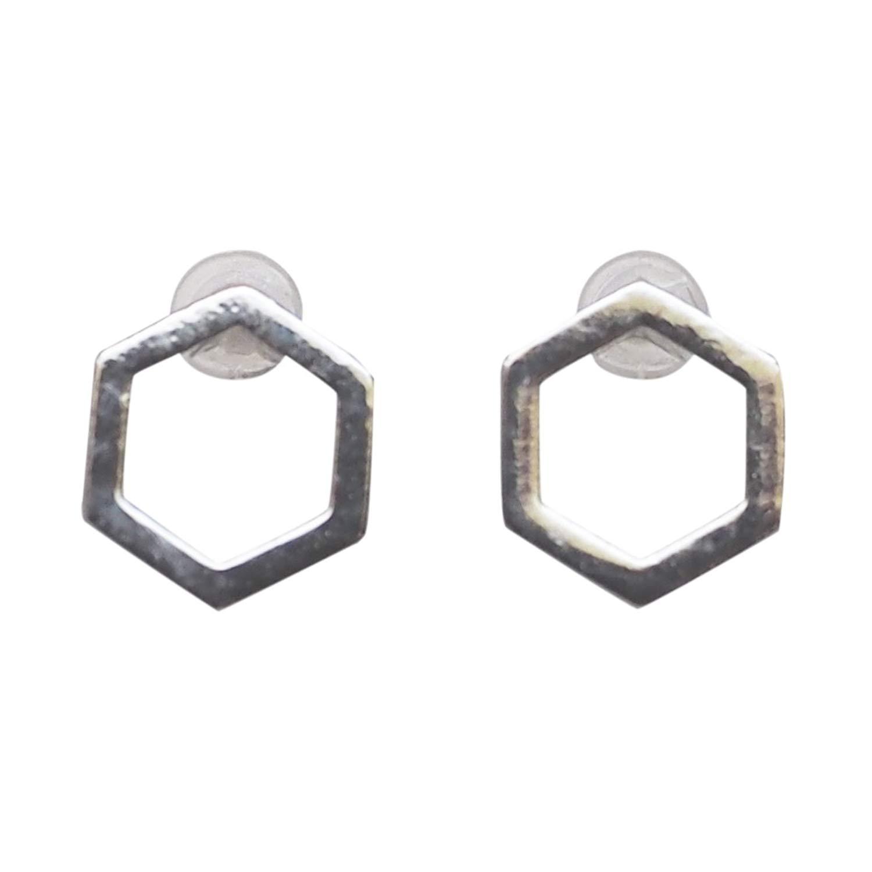 Miyabi Grace Women's Comfortable Modern Minimalist Hexagon Simple Invisible Clip On Stud Earrings Silver tone