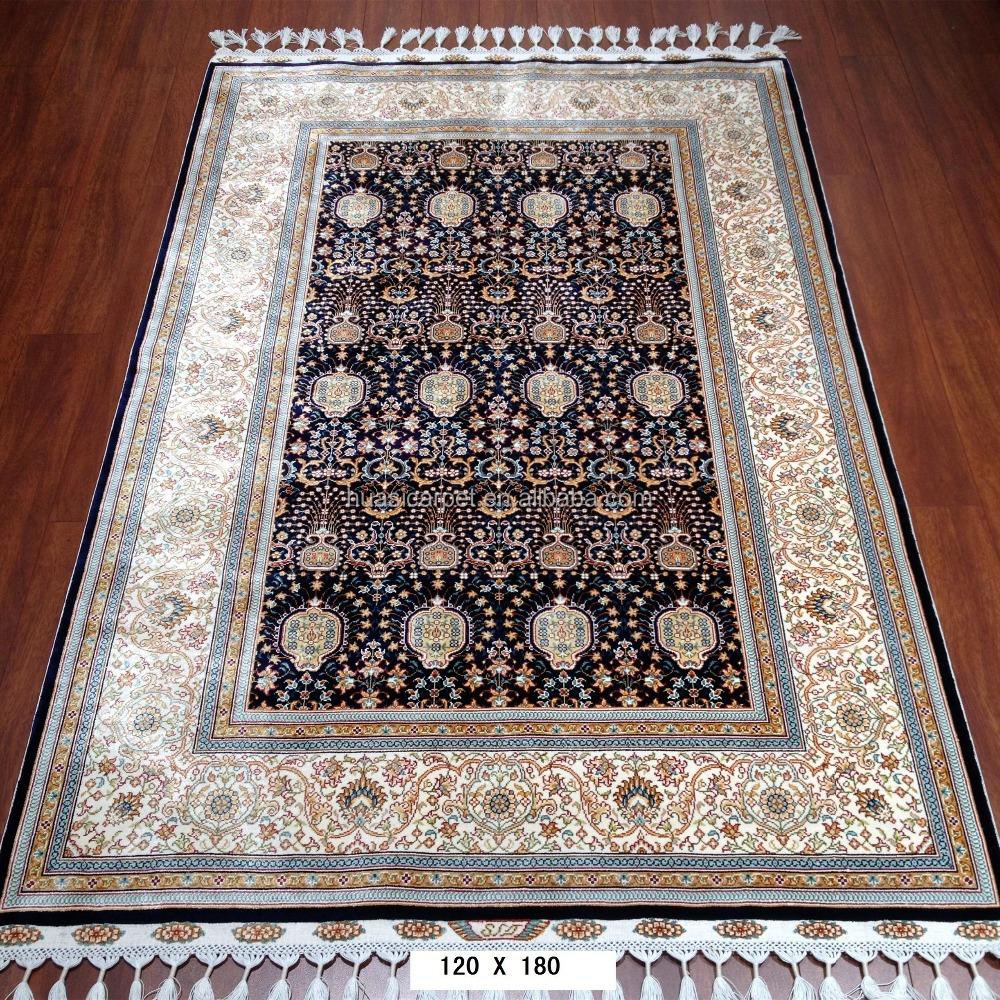 Hitam turki desain buatan tangan sutra karpet 4x6ft henan