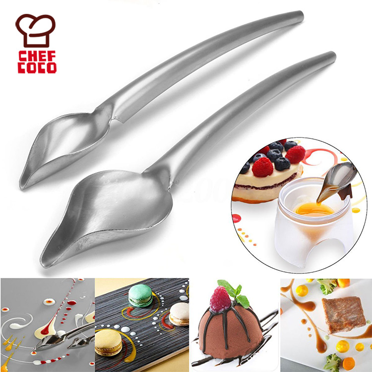 Small size stainless steel deco spoon precision chef drawing spoon drop for decorating plate