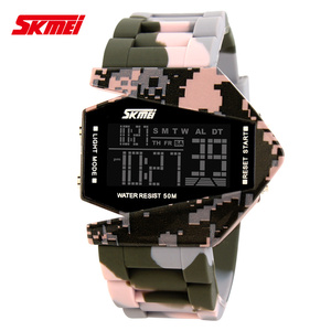 Fashion new aircraft design analog digital iron man led watch