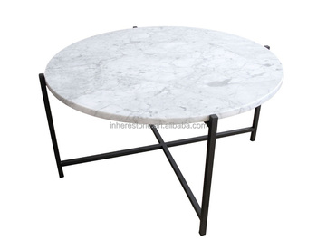 Superbe White Round Marble Slab Coffee Table Top