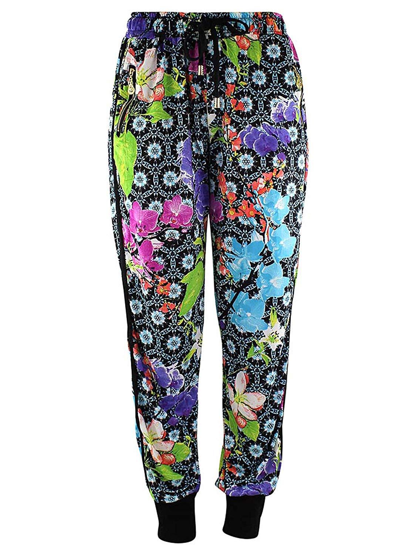 Luxury Divas Multicolor Floral Deco Print Jogger Pants