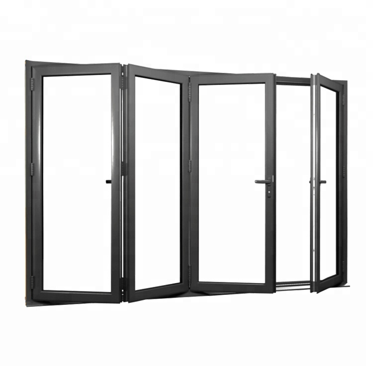 Exterior aluminum front folding glass door with hardware