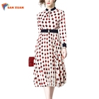 Latest Design Summer Casual Fashion Clothes Stand Collar Long Sleeve Collect Waist Women Slim Chiffon Polka Dotted Print Dress