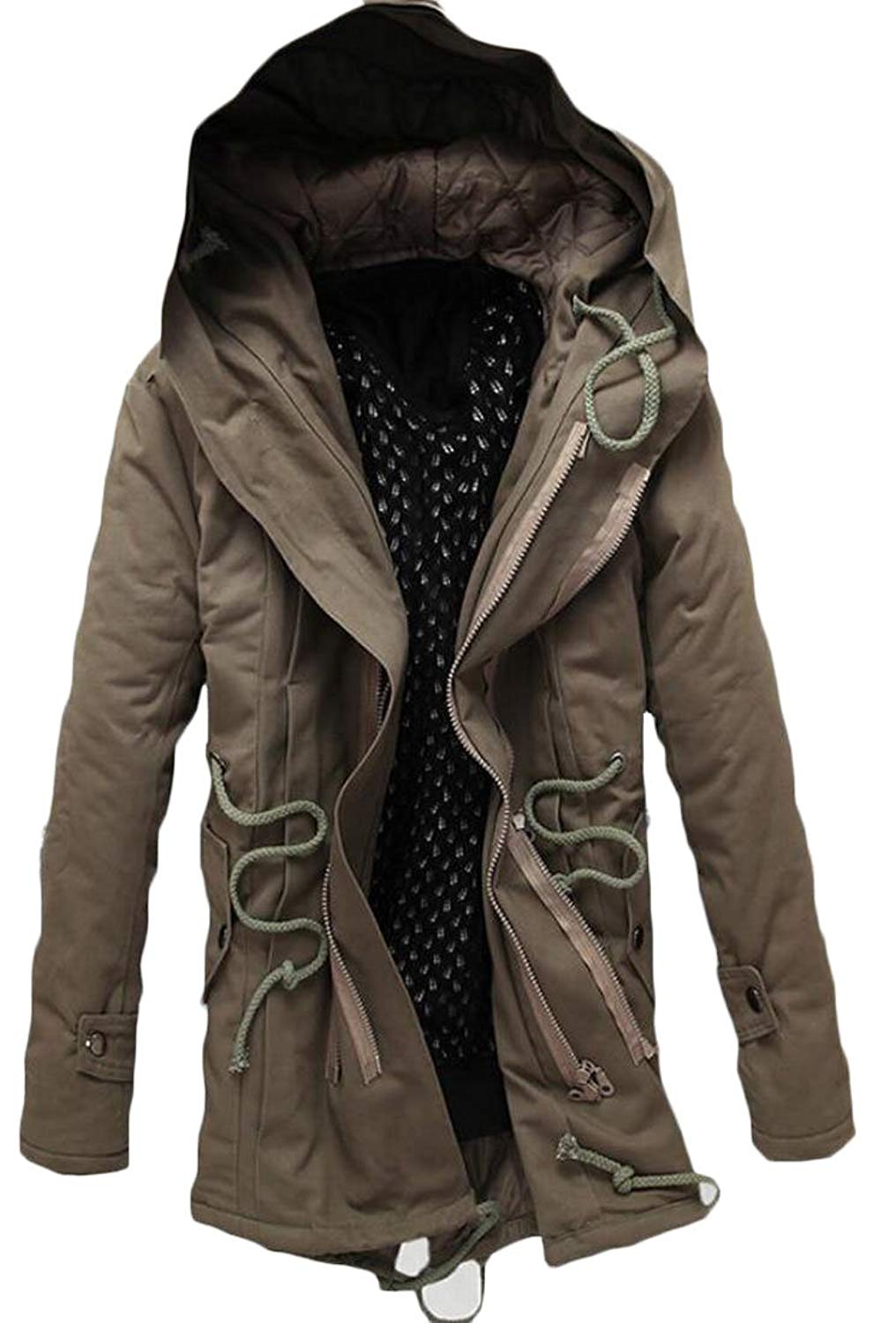 Sayhi Mens Classical Outwear Quilted Hoodie Warm Slim Jacket Parkas Coats