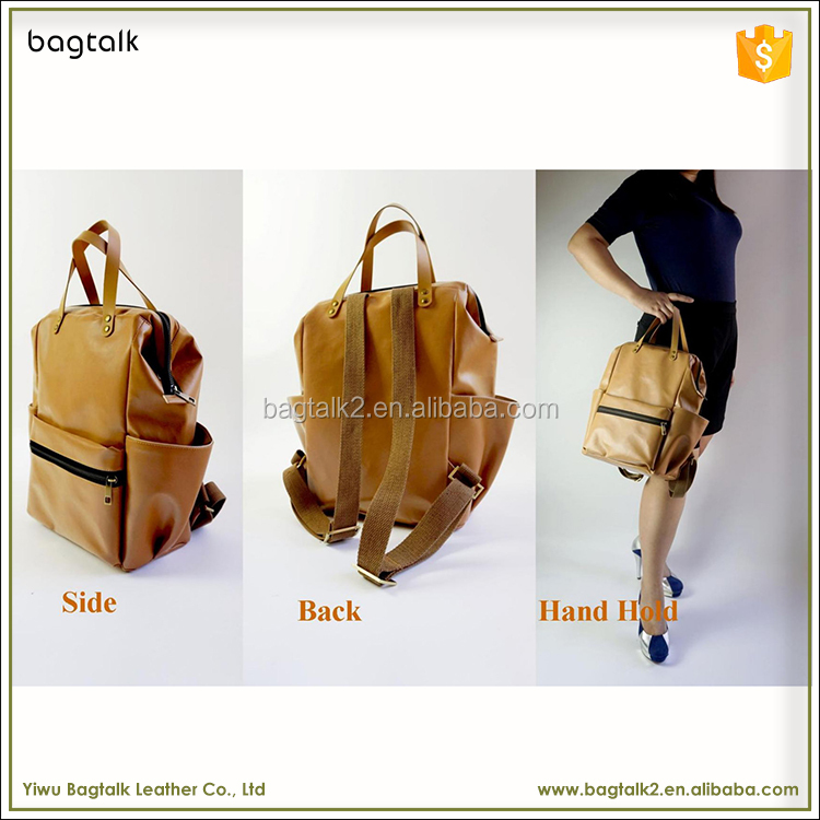 1BP0257 Wholesale Fashion Promotional Portable Custom Brown PU Leather School Diaper Backpack For Women Stylish