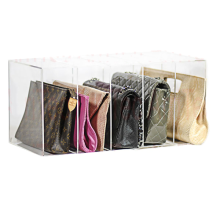 retail store PMMA purse organizer 5 divider acrylic purse display