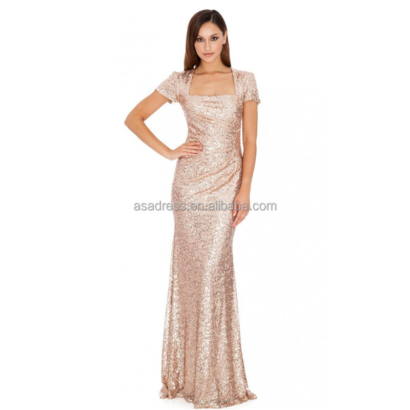 Bd82 New Fashion Elegant Short Sleeve Lady Evening Gowns Sequined A Line Bridesmaid Dresses Gold Color Buy Bridesmaid Dresses Gold Color Sequined