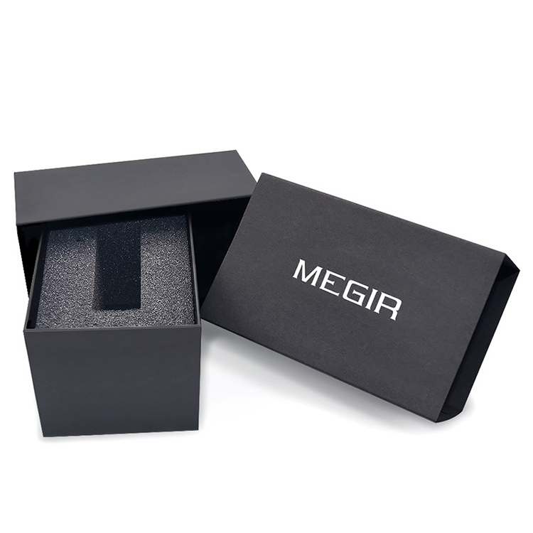 Megir box 2 Brand Leather Watch Fashion & Casual Black Paper Case we sell box with watch together, dont sell empty box