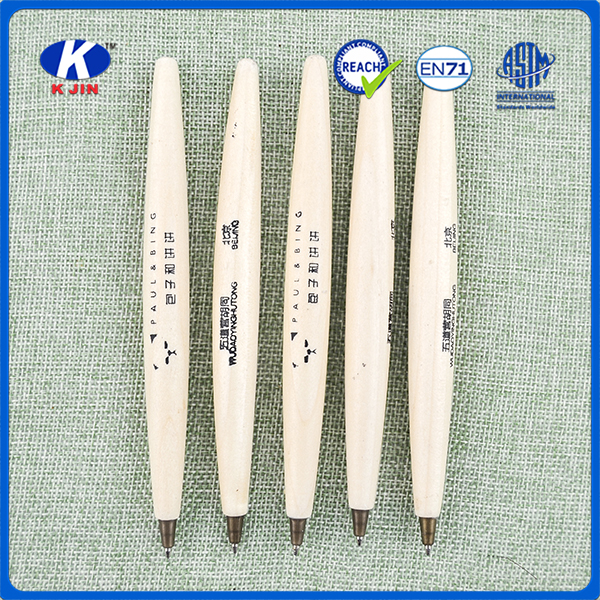 Wholesale OEM accept ellipse wooden ball point pen with printing logo