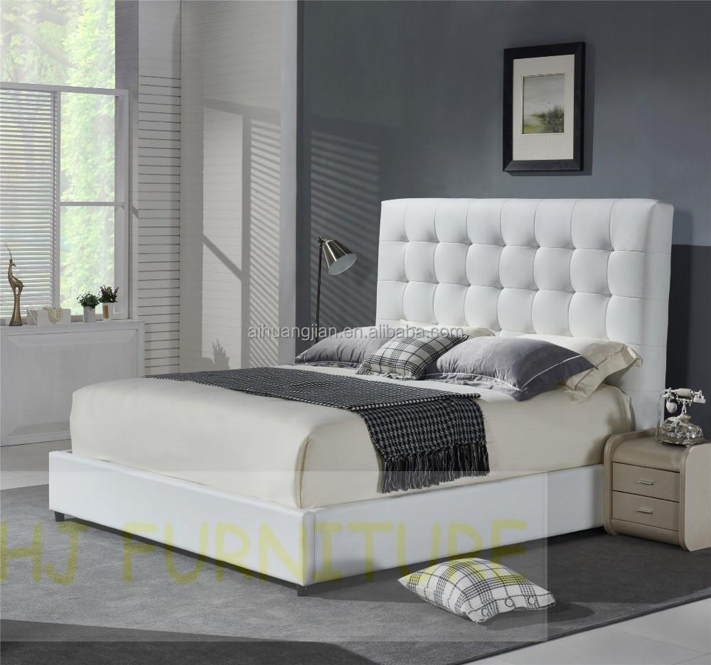 Colore bianco letto in vera pelle italiano telaio del letto in pelle moderni in pelle letto - Telaio del letto ...
