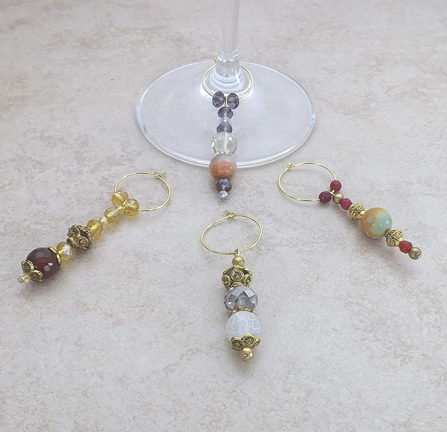 Semi Precious Gemstone Crystal Wine Glass Charms Set of 4