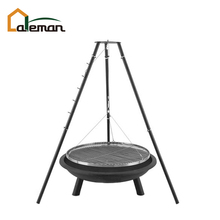 Heavy Duty Tripod Fire Pit with Swing/Hanging/Suspended Barbecue Grill, Tripod Campfire BBQ Cooking Stand w/Charcoal Fire Bowl