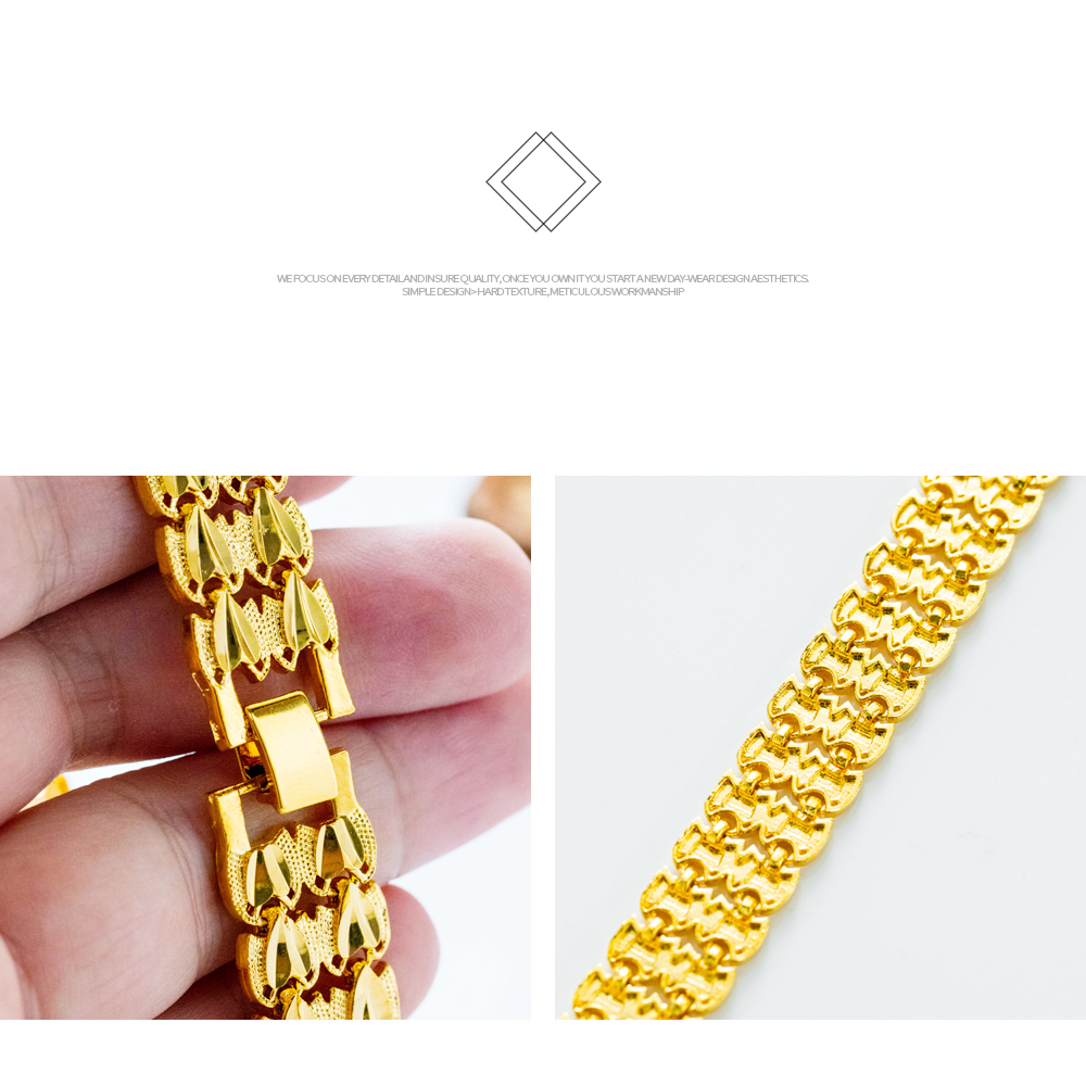 Latest Cheap Men Chain Jewelry 18K Gold Plated Copper Bracelet