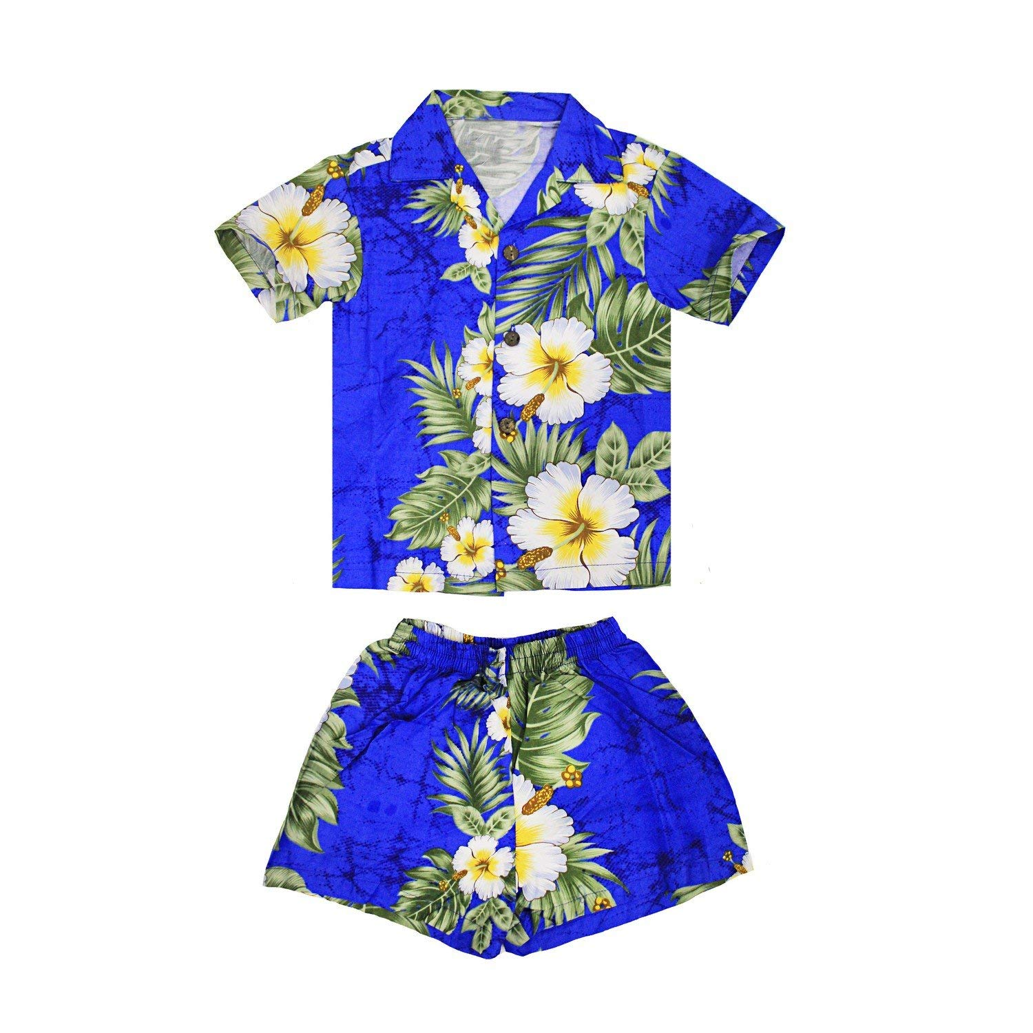 ac2059a9 Get Quotations · Boy Hawaiian Aloha Luau Shirt and Shorts 2 Piece Cabana Set  in Panel Floral
