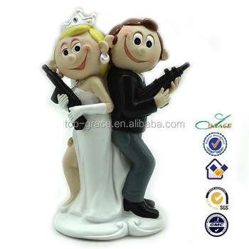 Resin Film Mr Mrs Smith Cartoon Funny Gun Shooting Wedding Cake Topper Buy Shooting Wedding Cake Topper Shooting Wedding Cake Topper Shooting