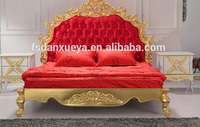 European Classical Diamond red Fabric King Size golden Bed