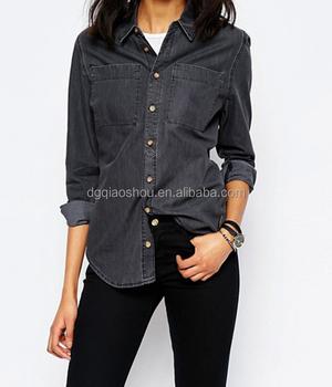 bd6d13fc9 Wash black denim jeans shirt for ladies wholesale denim shirt factory form  china