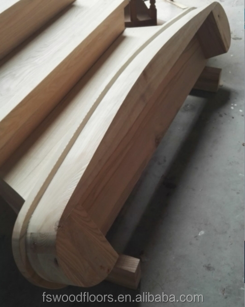 Acacia Walnut Solid Wood Curved Stair Treads