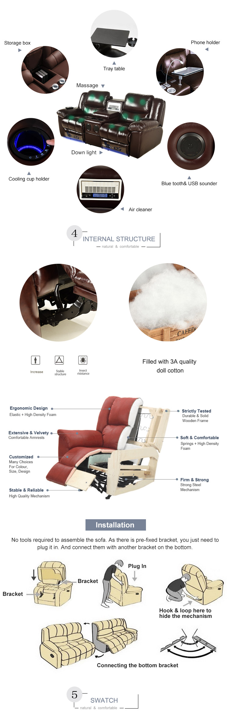 Recliner sofa leather,dream lounger recliner sofa,nitaly leather recliner sofa make in china
