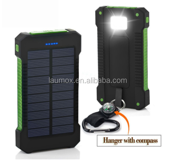 For outdoor travel Dual-USB power bank 8000mAh portable waterproof solar power charger