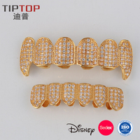 REACH EN-71 Approved Silver Gold Plated Hip Hop Grillz Teeth with Rhinestone Metal Copper Zipper